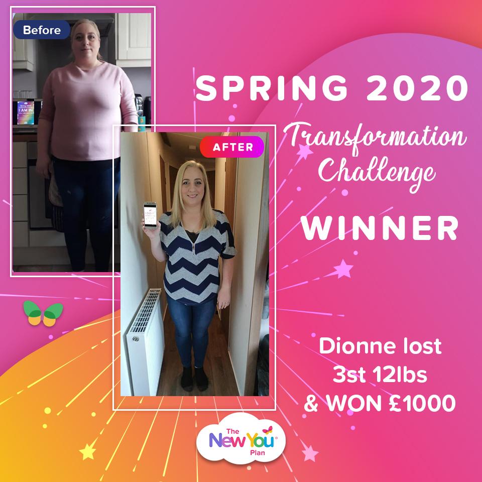 Spring Transformation Challenge WINNER Dionne Lost 3st 12lbs & WON £1000 Cash