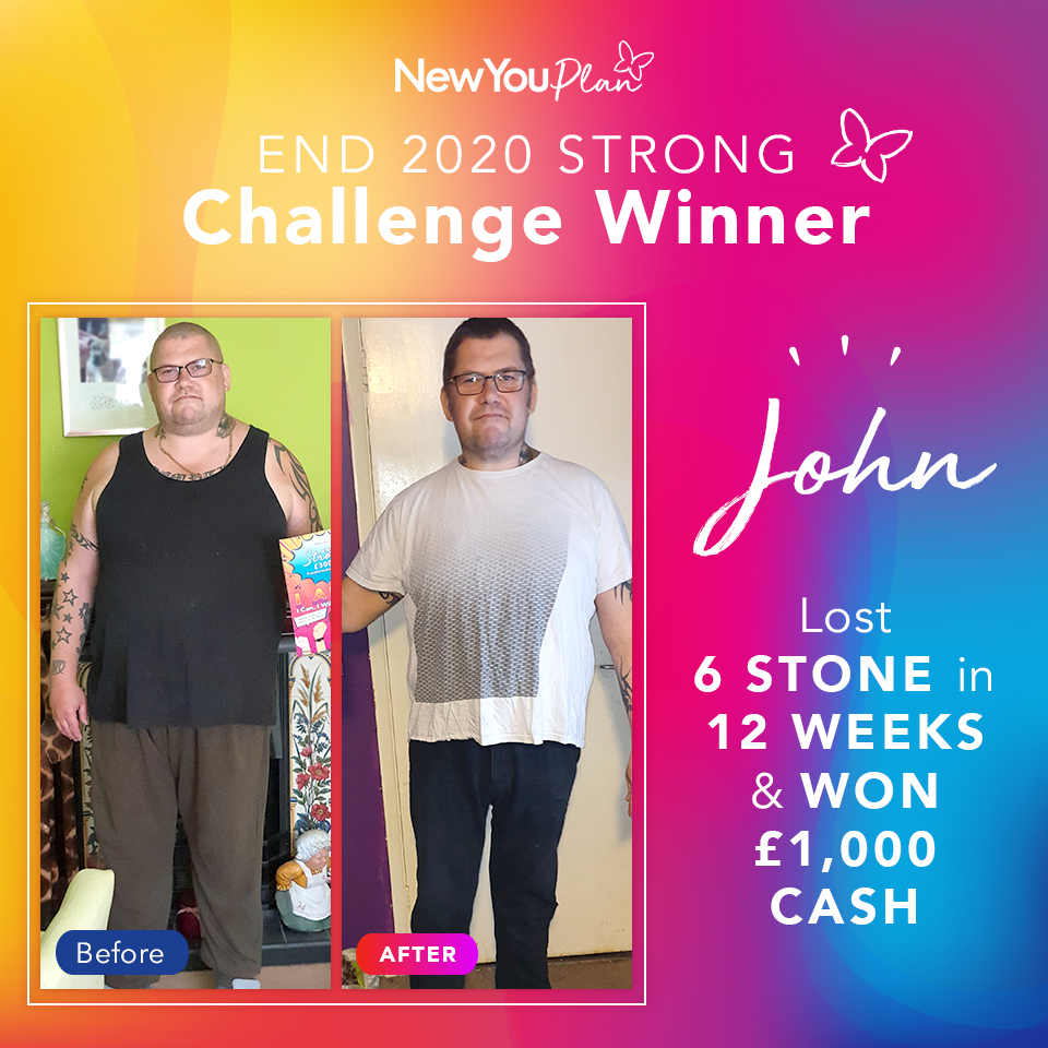 'End 2020 Strong' Challenge Winner, John, shares how he lost seven stone, changed his life and WON £1000
