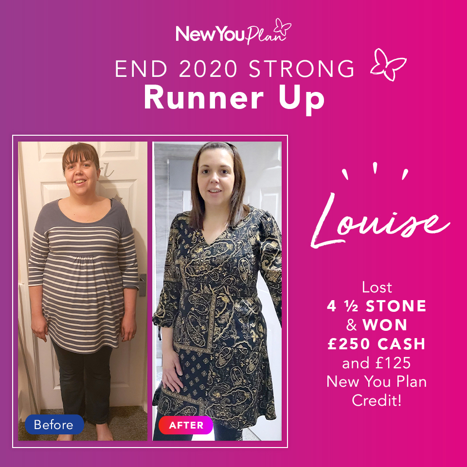 'End 2020 Strong' Transformation Challenge Runner-up, Louise, lost 4.5 stone and WON £250