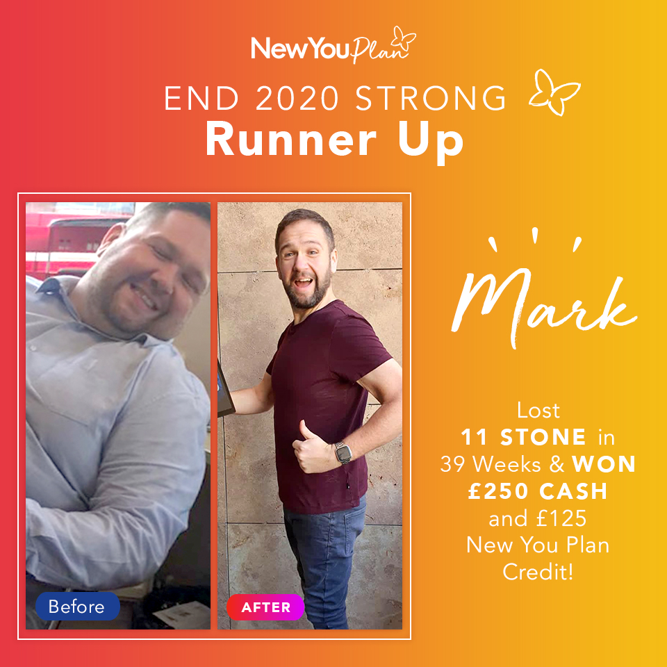 'End 2020 Strong' Challenge Runner-up, Mark, shares how he lost 11+ stone since starting the New You Plan