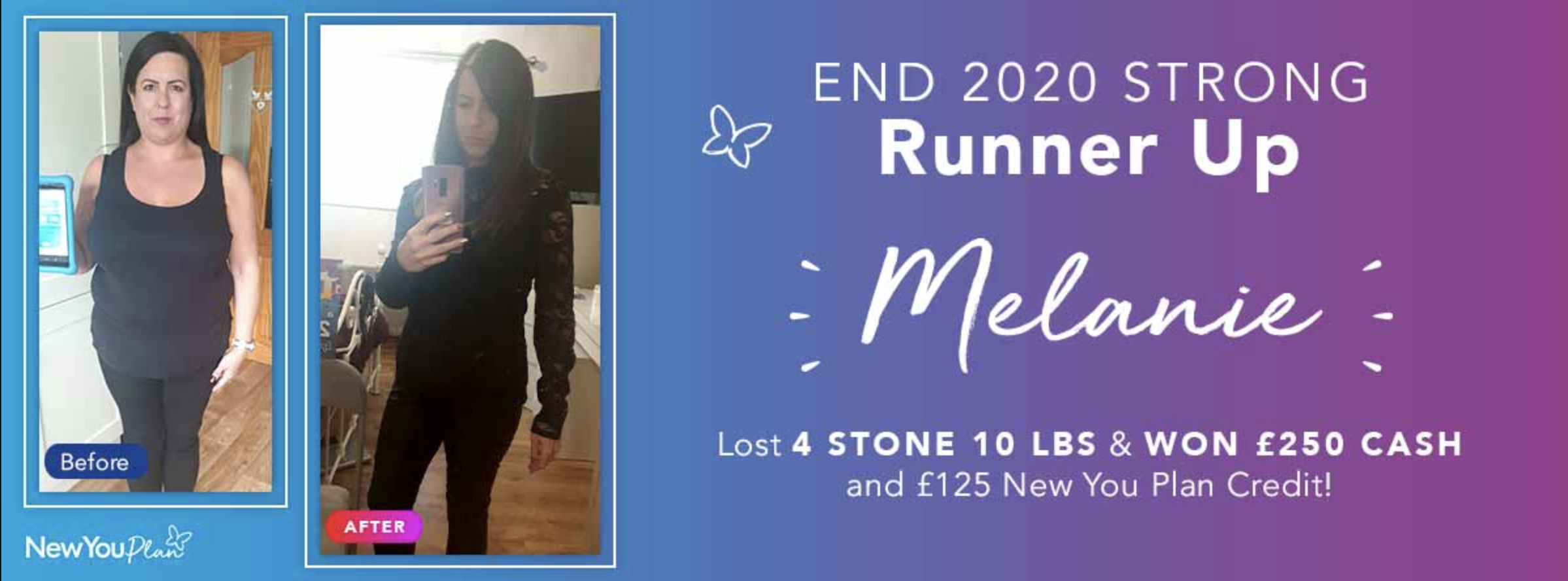 End 2020 Strong Challenge Runner-up Melanie shares how she lost four stone and 10 lbs with the New You Plan